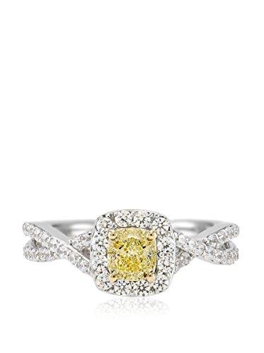Bouquet 1 Carat Fancy Yellow Cushion Diamond/18K White Gold Ring