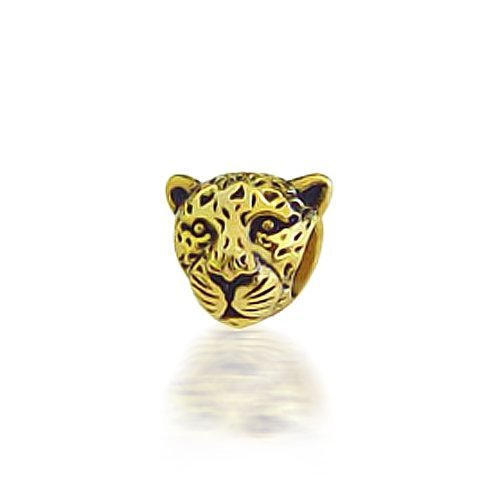 Bling Jewelry Gold Plated Cougar 925 Silver Animal Bead Fits Pandora Chamilia