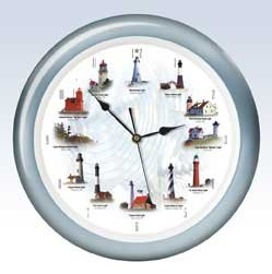 13 Quot American Lighthouses Nautical Wall Clock With Sound