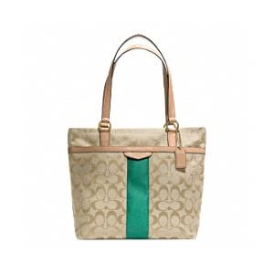 Coach Signature Stripe Tote Khaki & Emerald Green - Style 28504