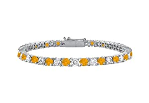Citrine and Cubic Zirconia Prong Set 10K White Gold Tennis Bracelet 2.00 CT TGW