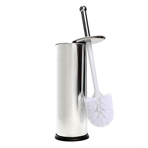 Home Intuition Chrome Toilet Brush With Holder and Drip Cup