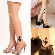 Sexy Women Little Cat Design Tattoo Socks Transparent Pantyhose Socks