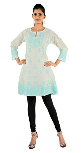 Indiankala4u Women Lucknowi Chikankari/Chikan Hand Embroidery Cotton White & Sea Green 38 Kurtis/Kurta