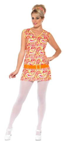 Smiffy's Women's Hippy Lady Costume Psychedellic Dress with Belt and Headband