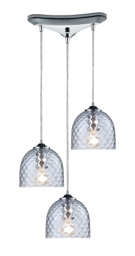 Elk 31080/3CLR Viva 3-Light Clear Pendant In Polished Chrome