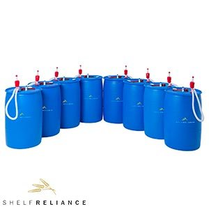 Shelf Reliance® BPA Free 55-gallon Barrel Water Storage System Pallet 8 Food-grade Water Barrels, Siphon Pumps, Bung Wrenchs & Water Treatment Solutions