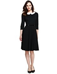 M&S Collection Detachable Peter Pan Collar Skater Dress with Belt