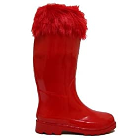 Red Fur Top Festival Wellies Wellington Boots