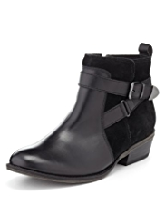 Footglove™ Leather Strap Wide Fit Ankle Boots