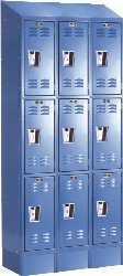 Hallowell, Assembled 3 Tier 1 Wide Slopemaster Lockers, Smas3T1W121524, Opening Size Wxdxh: 12X15X24, Nmbr Of Openings: 3, Color: Marine Blue, Smas3T1W121524