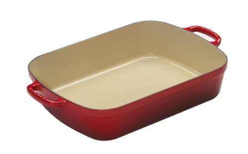 Le Creuset Signature Cast Iron Rectangular Roaster, 7.0-Quart, Cerise (Cherry Red) (Le Cruset Roasting Pan compare prices)