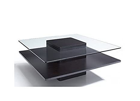 2000 Series Square Coffee Table with Glass Top in Espresso