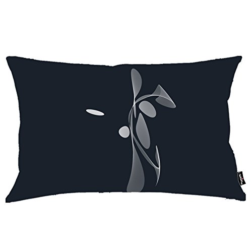 i FaMuRay Federa Cuscino, White curves on dark blue Theme, 20x36 Inches