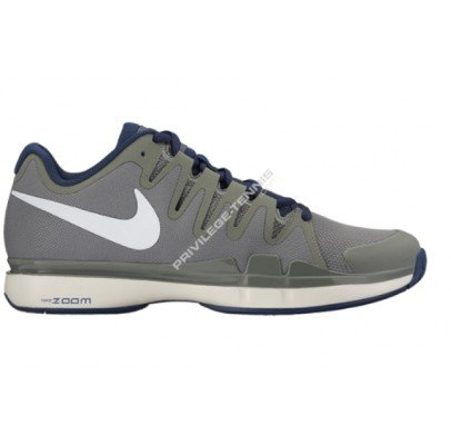 pictures of Nike Mens Zoom Vapor 9.5 Tour Tennis Shoes Tumbled  Grey/Midnight Navy/