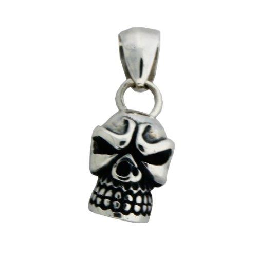 Sterling silver 35mm x 13mm skull pendant