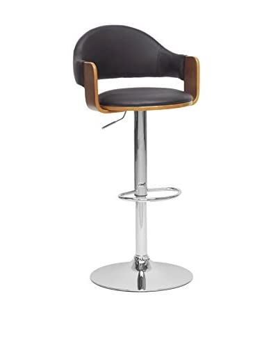 Baxton Studio Berne Modern Bar Stool, Walnut/Black/Chrome