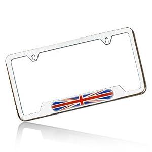 Amazon Com Union Jack License Plate Frame Polished