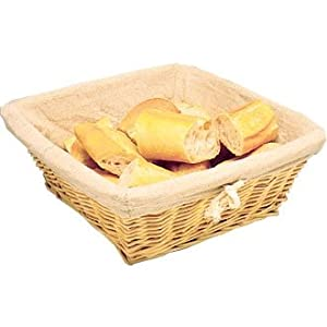 Wicker Basket with Removable Cloth Square - 100x230x230mm - ideal as a fruit bowl or bread basket offering great table presentation