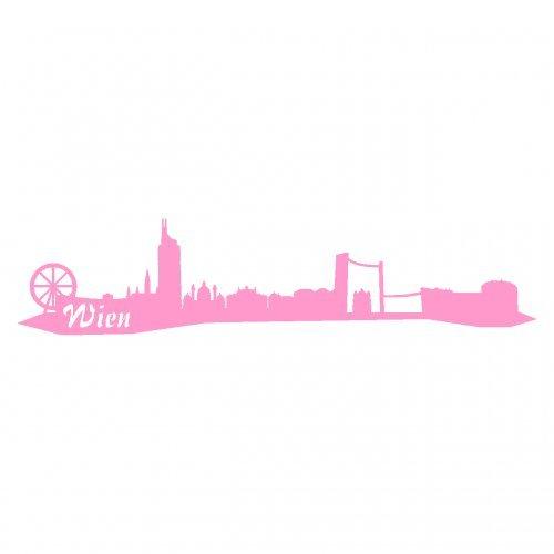 Wandtattoo Wien Skyline Wandaufkleber viele Farben und Größen sofort lieferbar in 8 Größen und 25 Farben (30x6,7cm hellrosa)
