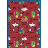 "Joy Carpets Kid Essentials Language & Literacy Bookworm Rug, Red, 3'10"" x 5'4"""