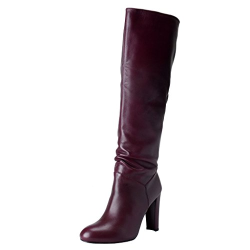 Stuart Weitzman Womens Purple Leather High Heel Boots Shoes