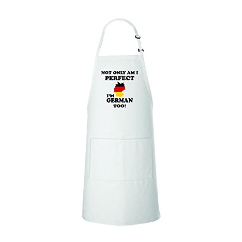 Not Only I'M Perfect, I'M German Too 100% Cotton Adjustable Bib Kitchen Apron