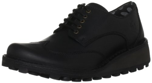 Fly London Women's Menu Leather Black Casual Lace Ups P210663007 3 UK