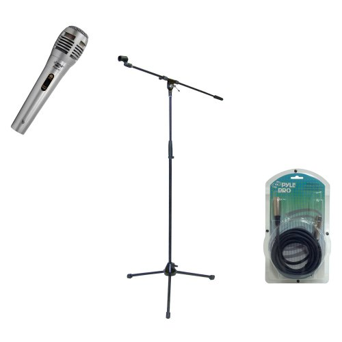 Pyle Mic And Stand Package - Pdmik1 Professional Moving Coil Dynamic Handheld Microphone - Pmks2 Tripod Microphone Stand W/Boom - Ppfmxlr15 15Ft. Xlr Male To Xlr Female Microphone Cable