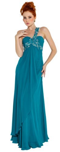 Beaded One-Shoulder Chiffon Long Goddess Gown Prom Dress