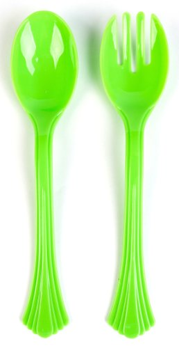 Good Living Plastic Bright Color Serving Spoons and Forks - Pack of 1