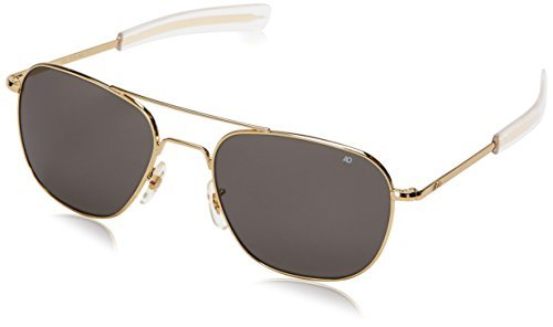 American Optical Original Pilot Eyewear 57mm Gold Frame with Bayonet Temples and True Color Gray Glass Lens by AO Eyewear