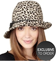 Twiggy for M&S Collection Pure Wool Leopard Print Trilby Hat