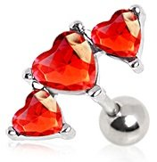 Red Crystal Triple Heart Tragus / Cartilage Upper Ear Earring Bar