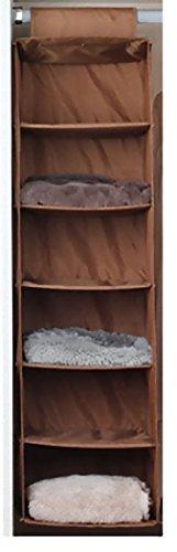吊り下げ式 衣類ラック 6段 収納ボックス (ゴールドブラウン)