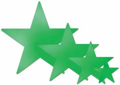 Foil Star Cutout (green) Party Accessory  (1 count) - 1