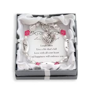 Live, Love, Laugh Silver & Crystal Expressively Yours Bracelet