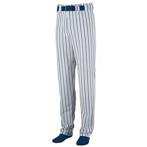 Striped Open Bottom Baseball Softball Pants - SMALL - NAVY & GREY by Augusta