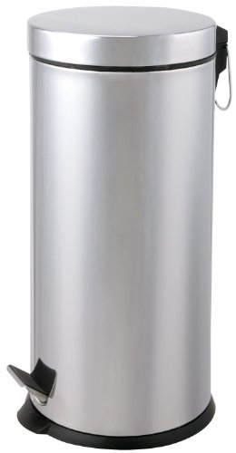 Designers Choice Step Lid Trash Can, 40 Liter/10 Gallon, Round, Polished Finish