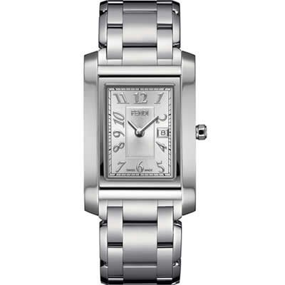 Fendi Loop Large Square Silver Dial and Bracelet Quartz Watch - F775160