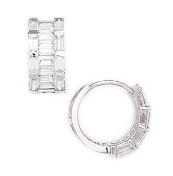 14ct White Gold Round CZ Hinged Earrings - Measures 13x13mm