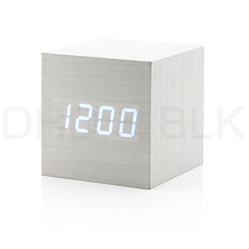 New Modern Wooden Wood Digital Led Desk Alarm Clock Thermometer Timer Calendar White