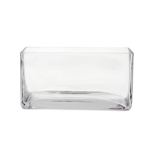Koyal Wholesale 404353 6-Pack Rectangle Glass Vases, 8 By 4 By 4-Inch
