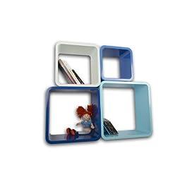 Lacados Estanterias Flotantes Diseño Moderno Acabado Alto Brillo Cubos Para Pared con Forma de Cubo CD Retro Librero ZO02M