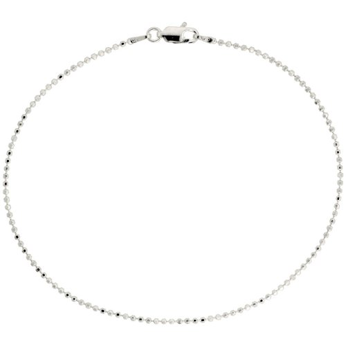 Sterling Silver Italian Faceted Pallini Bead Ball Chain Necklaces & Bracelets 1.5mm Nickel Free, sizes 18 - 76 CM Long