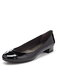 M&S Collection Leather Patent Finish Toe Cap Pumps