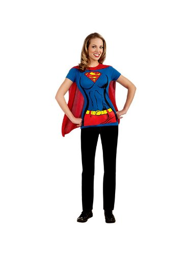 Supergirl Womens T-Shirt W/ Cape Costume