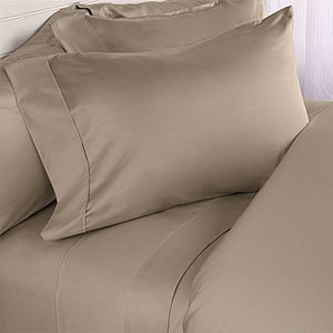 Scala Home Solid Taupe 600 Thread Count Egyptian Cotton Bed Sheet Set with 25 Inches Extra Deep Pocket Solid (Expanded Queen/olympic Queen Size) (Extra Deep Sheets compare prices)