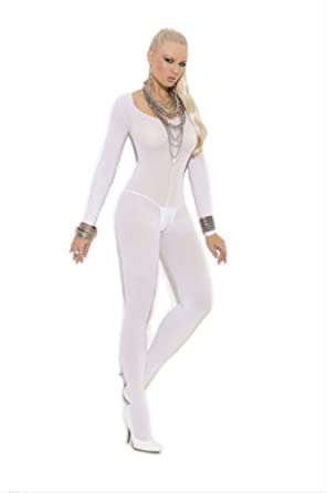 1606 Opaque long sleeve open crotch body stocking.(WHITE,ONE SIZE)