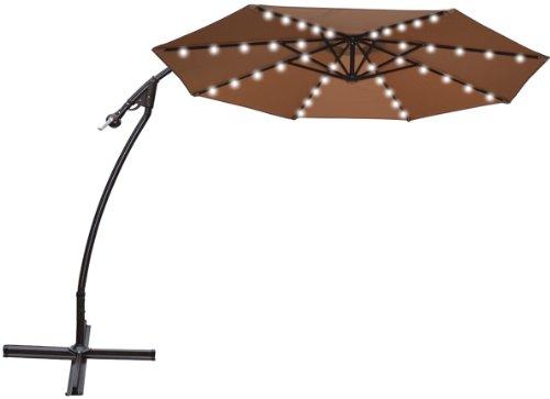 awardpedia strong camel 9 39 cantilever solar 40 led light patio umbrella outdoor garden. Black Bedroom Furniture Sets. Home Design Ideas